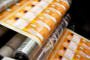 Watershed Group Labels on Mark Andy Flexographic Printing Press