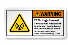 RF Voltage Hazard Warning Label