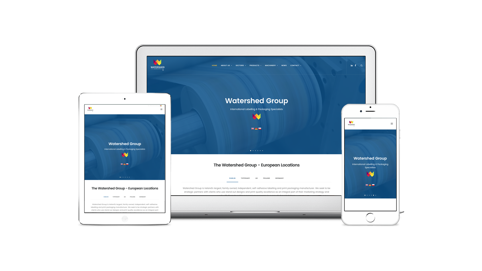 New Website Launch Graphic Macbook iPad iPhone Watershed Group Ireland